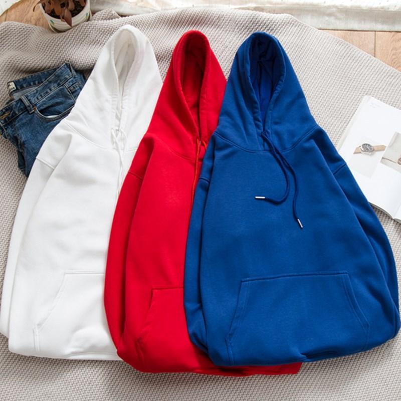 E-Baihui 2020 neuen Herbst und Winter Solid Color Plus Velvet Padded Hoodie, Rundkragen Pullover, lose Taschen und lange Ärmel W-001