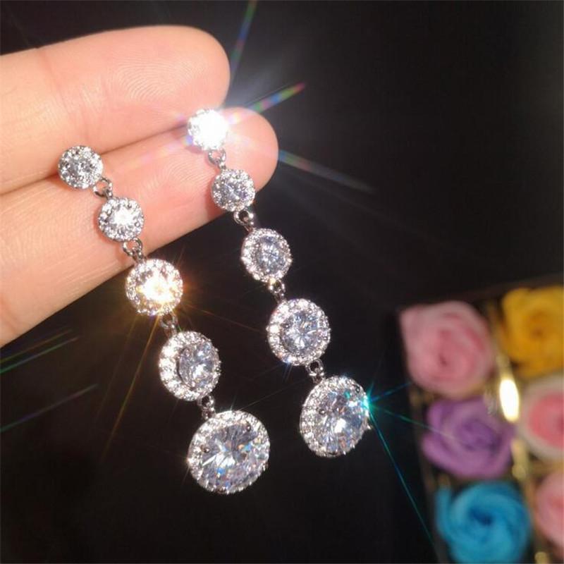 Sparkling di lusso gioielli multi stile goccia orecchino 925 argento sterling acqua goccia bianca topazio cz diamante donne partito lungo penzolare regalo orecchino