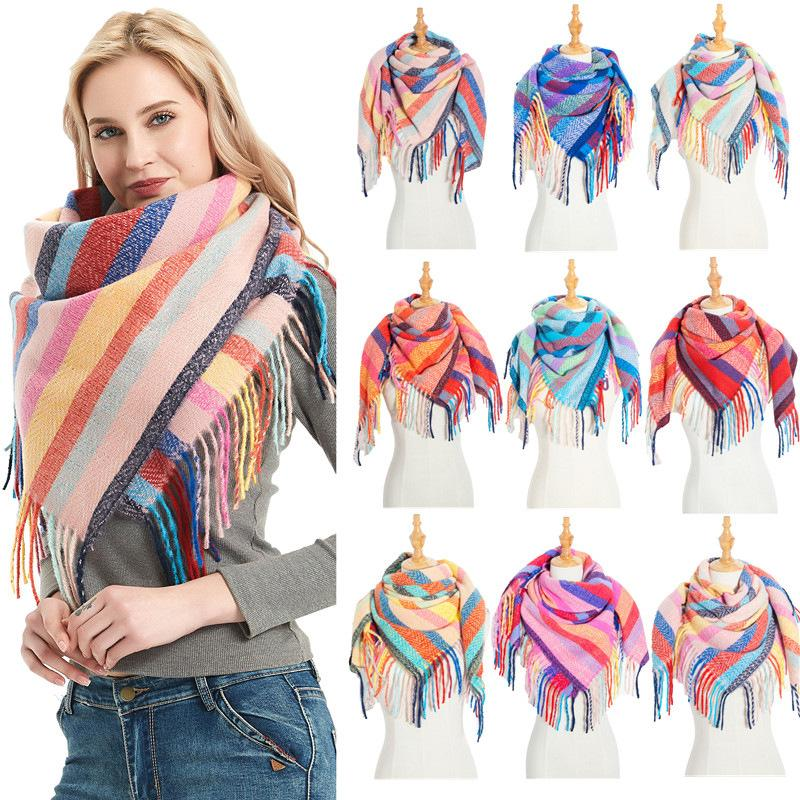 Mulheres Homens Outono Inverno Grande Lenço Longo Borlas Brilhante Colorido Colorido Riscado Malha Grosso Nascente Casual Casual Xaile Wrap Cobertor YL0180