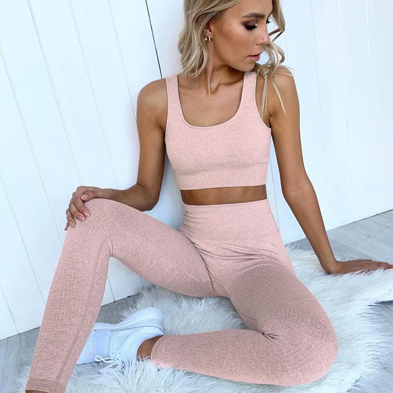 Conjuntos de ropa de yoga de mujer sin fisuras gimnasio sexy sujetador cultivo top altos cintura leggings deportes traje fitness ropa deportiva entrenamiento ropa
