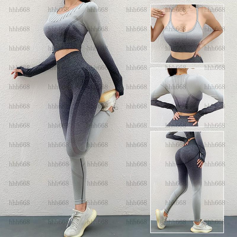 Kadın sıkı montaj kalça yüksek bel sorunsuz yoga pantolon spor giyim kış yeni degrade renk güzellik geri spor sutyen seti