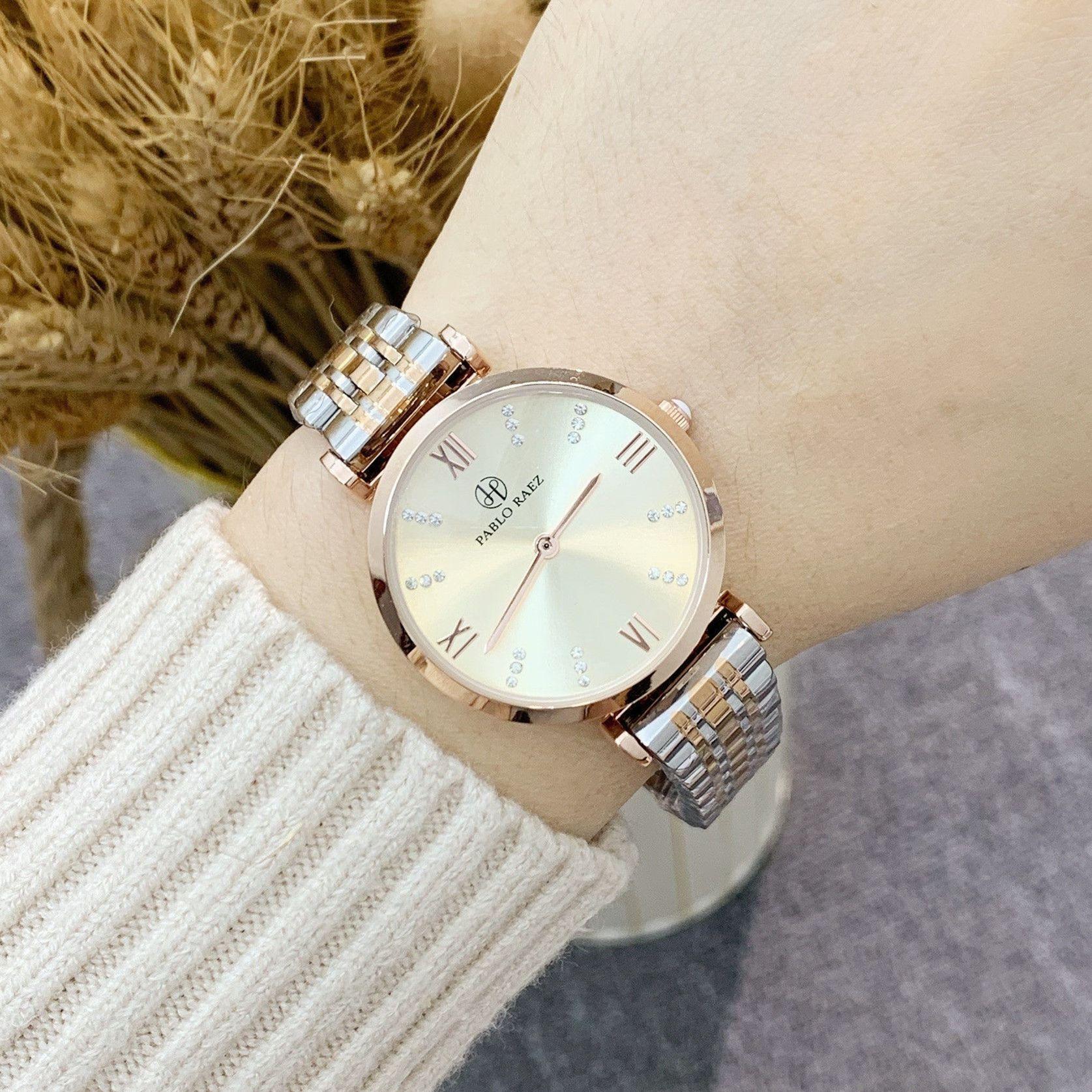 파블로 raez 럭셔리 레이디 시계 여성 방수 로즈 골드 100 % 스틸 스트랩 여자 손목 시계 탑 브랜드 팔찌 드레스 시계 Relogio Feminino