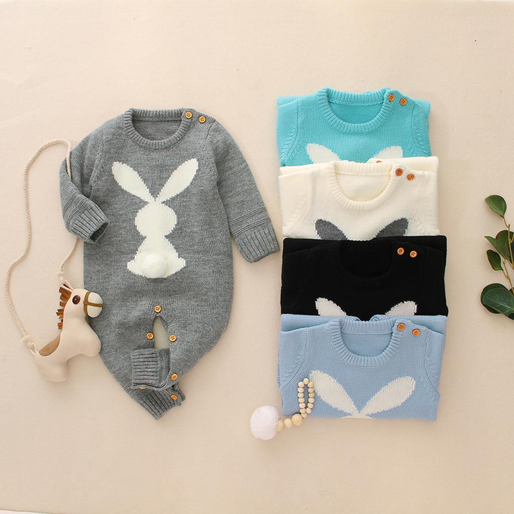 Toddler Newborn Baby Girls Boys clothes Winter Warm Knit Rabbit Sweater Rompers Jumpsuit Outfits clothing Q1113