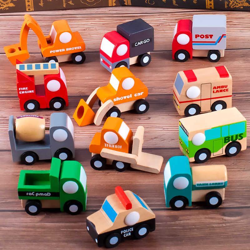 Ahşap Çocuk Mühendisliği Araba Modeli Oniki-Parça Arabası Bebek Bebek Bilişsel Eğitici Oyuncak