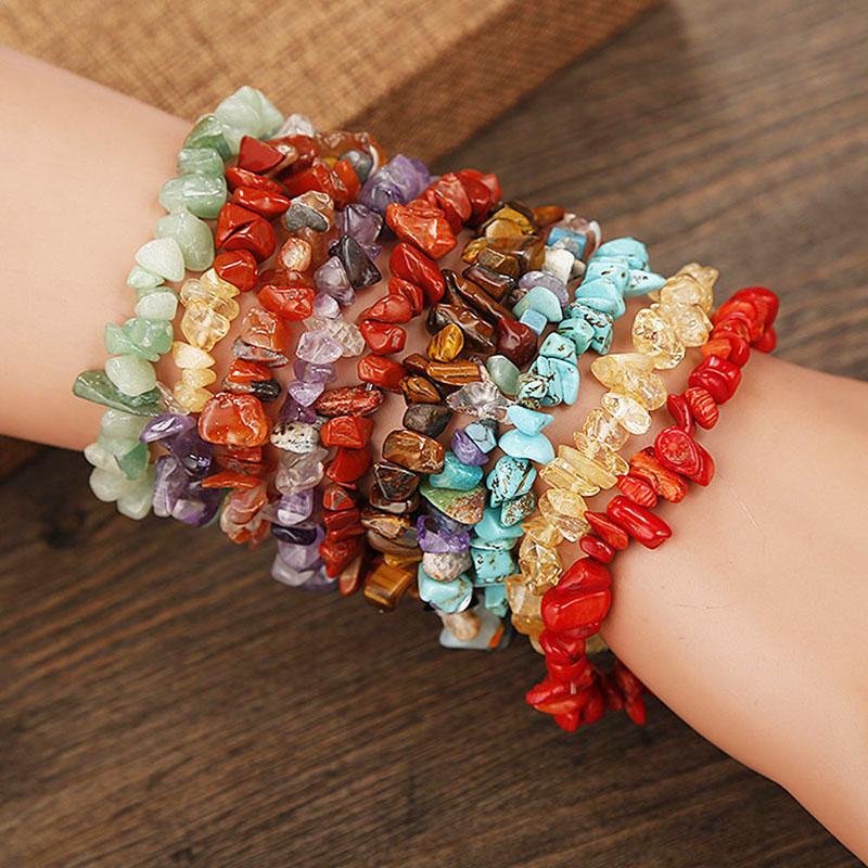 Chakra Reiki Frauen Armbänder Kette Link Hummer Schließe Heilungsbalance Natürliche Chipsteinperlen Meditation Regenbogen