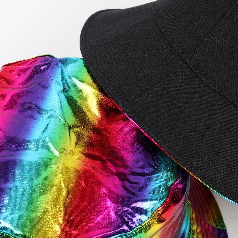 Красочные лакированные кожаные дизайнеры шапки шляпы мужские улицы светоотражающий рыбак шанс шапка складной ступень радуги женщина дизайнеры H