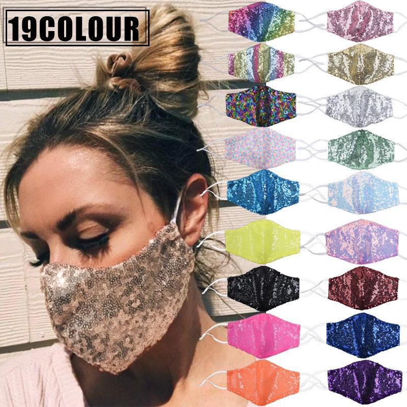 19 Renkler Gliter Pullarda Yüz Kadınlar Yetişkin Yıkanabilir Yeniden kullanılabilir Maske Rahat Kumaş Kumaş Açık Maske Aktif Giyim Can takın Filtre FY9239