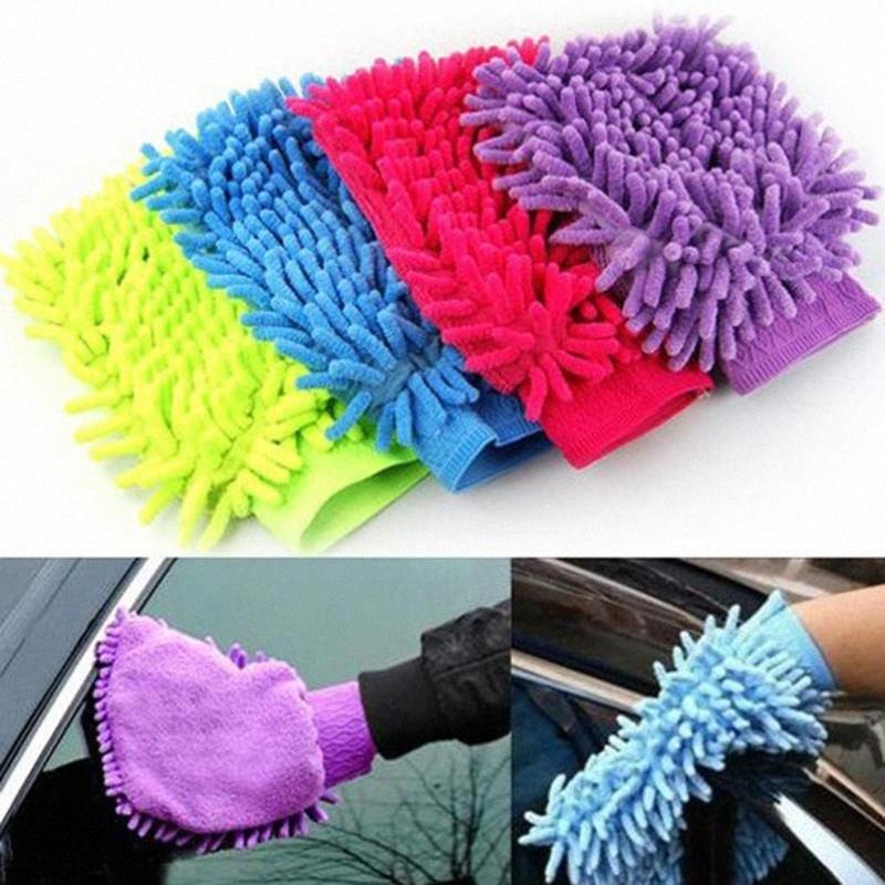 Los guantes calientes de la limpieza del coche del Chenille de secado ventana de microfibra de lavado de herramientas Limpieza del hogar Car Wash Guante Herramientas i65c #