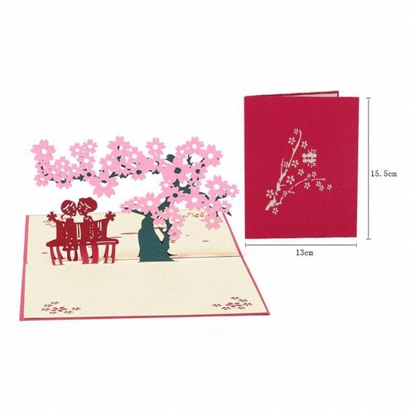 3D aparece regalos románticos Tarjetas de felicitación hechas a mano estéreo tarjeta de felicitación para la fiesta de cumpleaños Día de San Valentín decoración de la boda # cOww tarjeta