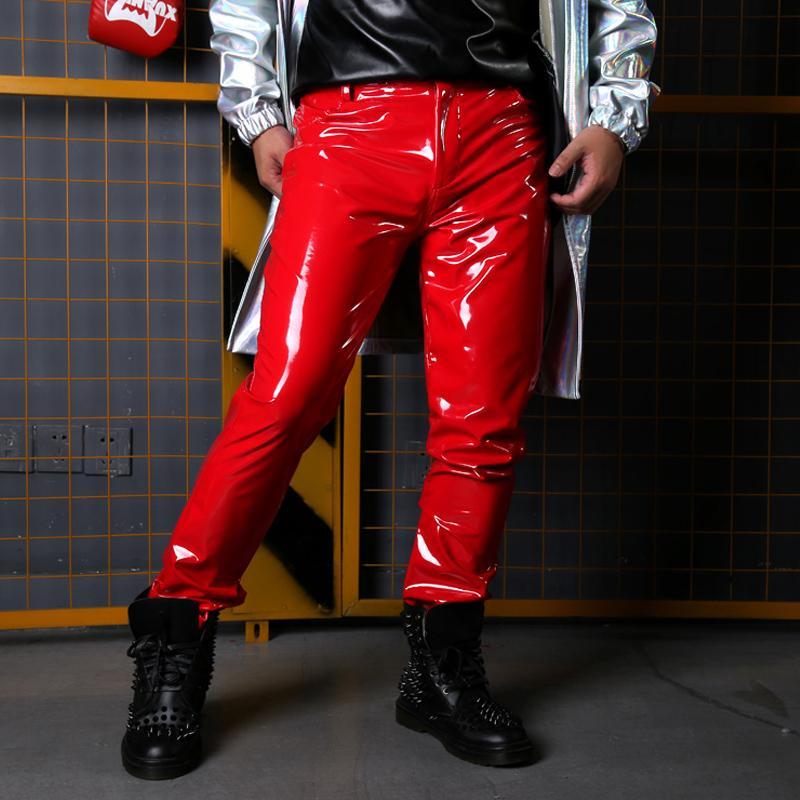Trajes de la etapa cantante Bailar Dj Ropa Hip Hop Pueden ser de cuero personalizada Etapa Hombres Patente Pant Hombre Moda Slim Fit Pantalones Y1106