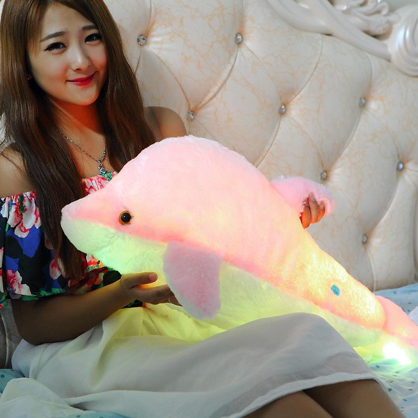 Flash Apenas Colorido Brilhante Dolphin Dolphin Boneca Tipo de Indução Brinquedos Recheados Dolphin