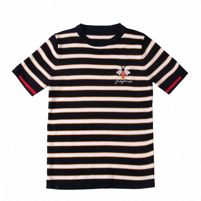 2020 Вязание полосы вокруг шеи Tee Shirt Homme Camiseta Masculina Summer Топ Streetwear Social Slim Fit T Shirt Men EcAq #