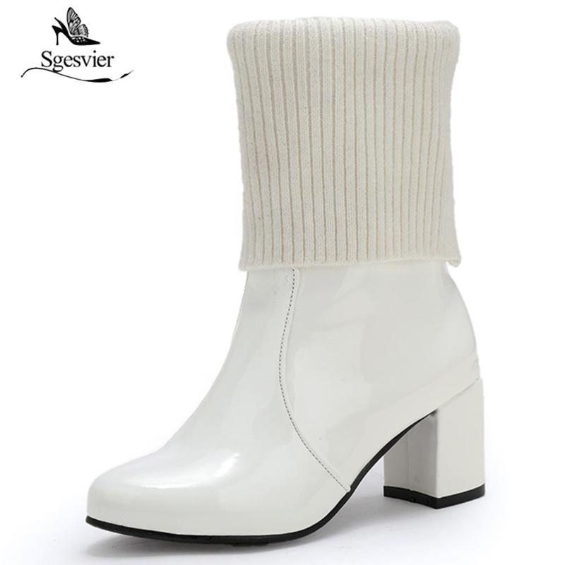 Sundsvier Knöchelstiefel Chunky High Heels Frauen Mode Lackleder Stiefel Schwarz Weiß Rot Weibliche Schuh Sexy Frauen Pumps B759