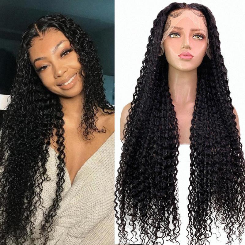 Füreya Saç 360 Dantel İnsan Saç Uzun Kıvırcık Peruk İçin Siyah Kadın% 150 Yoğunluk Brezilyalı Remy Öncesi Mızraplı ağartılmış Knots Jslh #