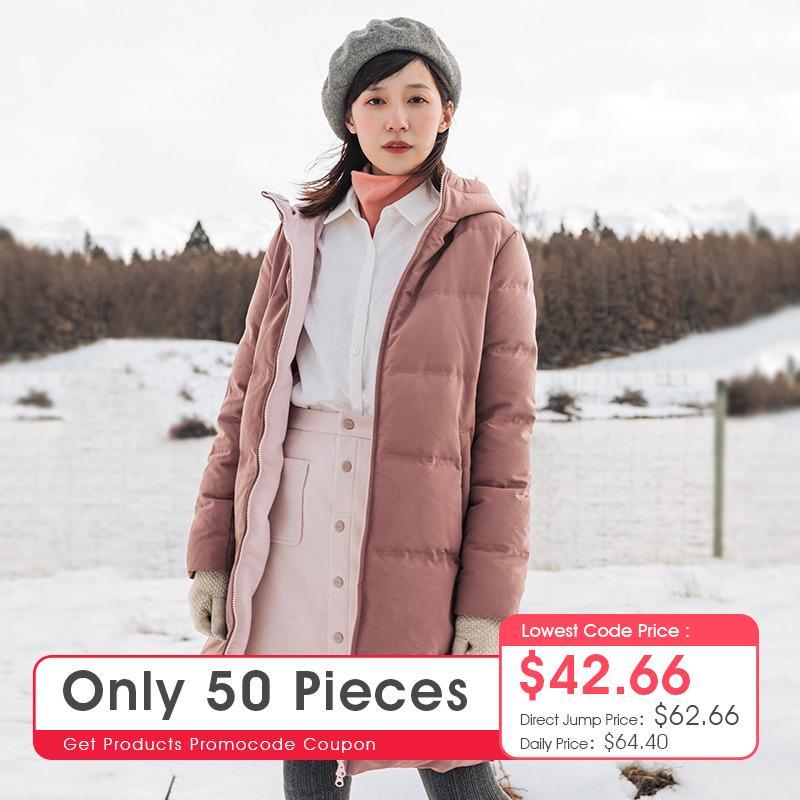 INMAN russo Inverno Feminino sólido com capuz Quente solto Hetero Mulheres Long Duck Down Ladies Jacket Brasão 200930