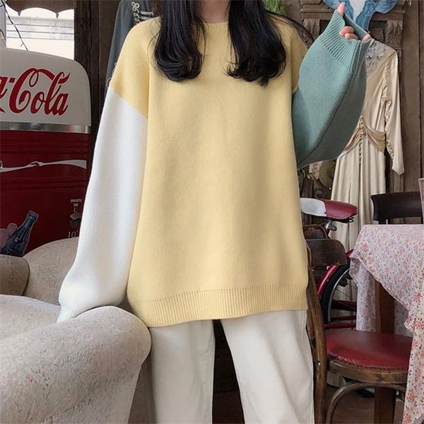 Корейский ины стиль Трикотажных свитеров женщины марочного цветы лоскутных теплый свитер и джемпер женский (X1248) C1015