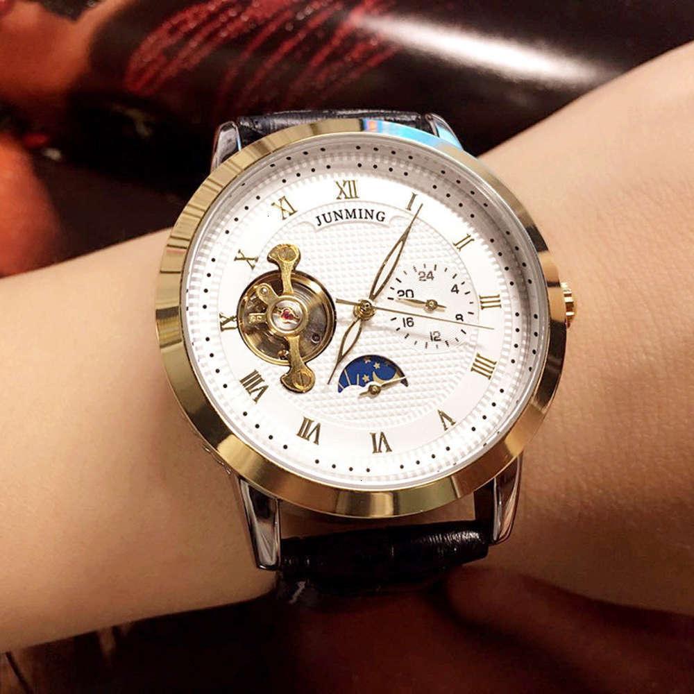 Reloj de hombre luminoso de la cinta real de la aguja luminosa de la placa de alto grado Reloj de hombres de negocios romanos impermeables