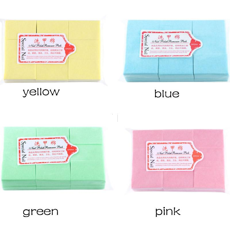 1000pcs/bag Nail Polish Remover Cleaner Wipes Acrylic UV Gel Tips Cotton Pads Soft Lint Free Green Blue Pink Yellow white color