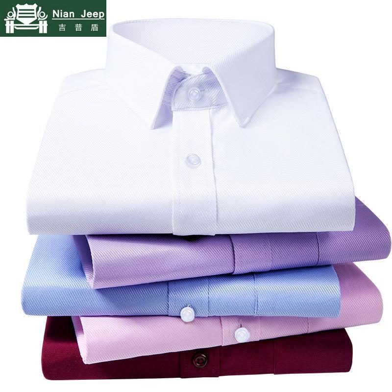Affaires nouvelles Chemises Hommes Twill à rayures manches longues souple Chemise Casual Slim Fit Hommes Chemises de mariage Chemise blanche Chemise Homme S-4XL