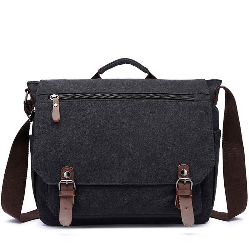 Retro Canvas Multifunction Messenger Shoulder Solid Briefcases Suitcase Card Pocket For Men Women Outdoor Office Bag XA288ZC Q0112