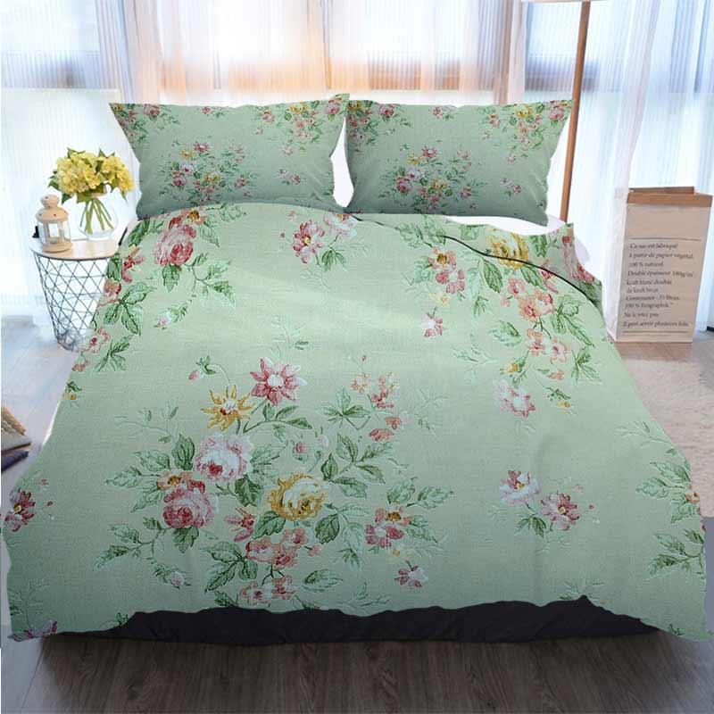 3D Tasarımcı Yatak Vintage Yeşil Duvar kağıdı ile Çiçek Desen Home Luxury Yumuşak Yorgan Yorgan Kapak ayarlar