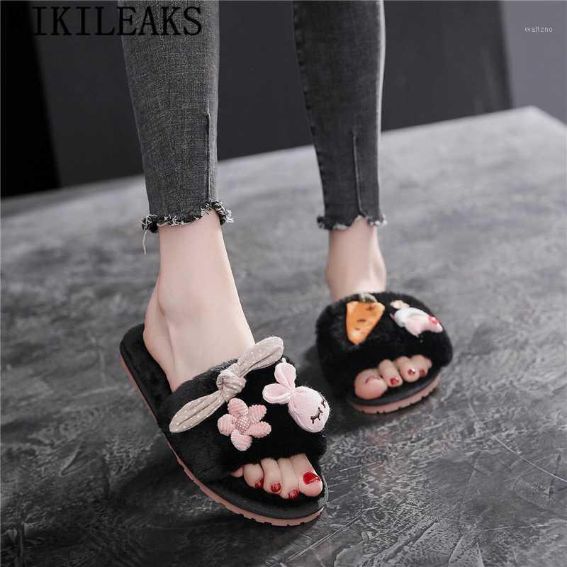 Senhoras Chinelos bonitos Chinelos de inverno Quarto Chinelos Home Tamanho Big 42 Mulheres de Pelúcia Mulheres Femininas Moda Feminino Sapatos para1