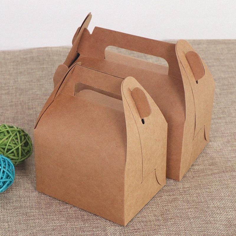 10PCS Cake Kraft cajas de papel con la manija del regalo de la fiesta de la boda caramelo cumpleaños decoración empaquetado Wb29 #