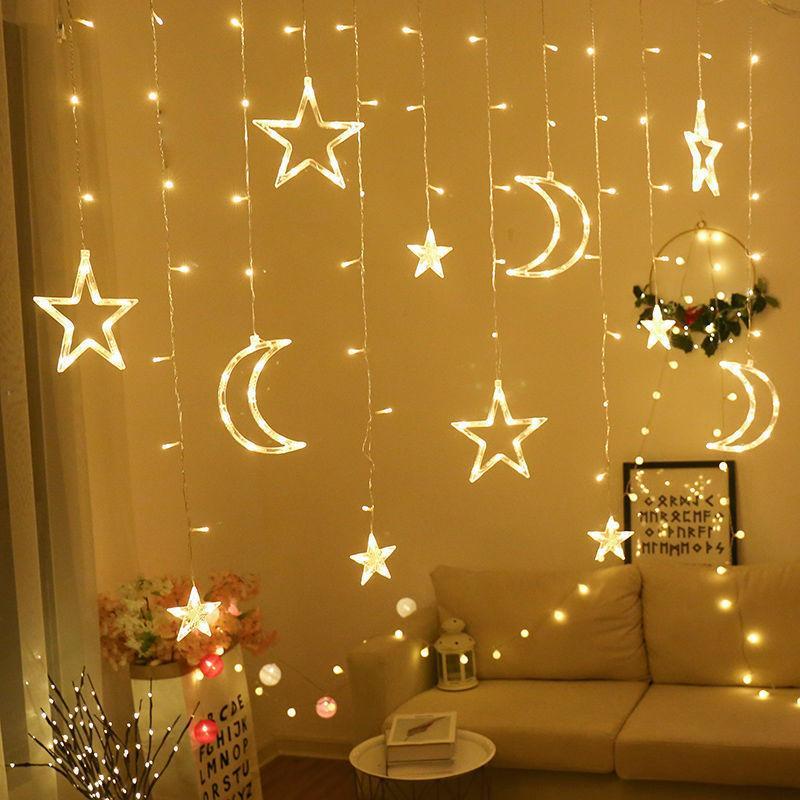 Luna estrella led cadena ligera mubarak decoración islámica musulmana fiesta de cumpleaños al adha ramadan eid decoración
