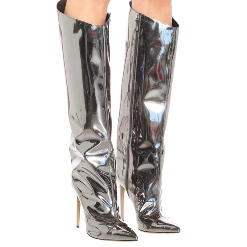 2020 neue Art und Weise kniehohe Stiefel Frauen europäische Art-Marken-Absatz-Partei-Hochzeit Schuhe Sexy Stiefel hoch Woman