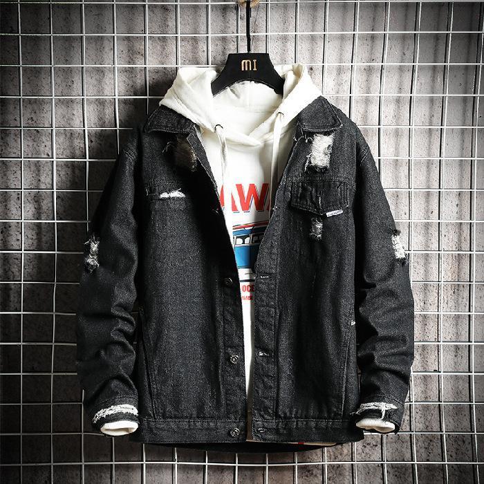 على الطريقة اليابانية للرجال فضفاض، صالح عمال جينز معطف ماركة شعبية الدهون تريند تنوعا عارضة زائد الحجم سترة الربيع والخريف