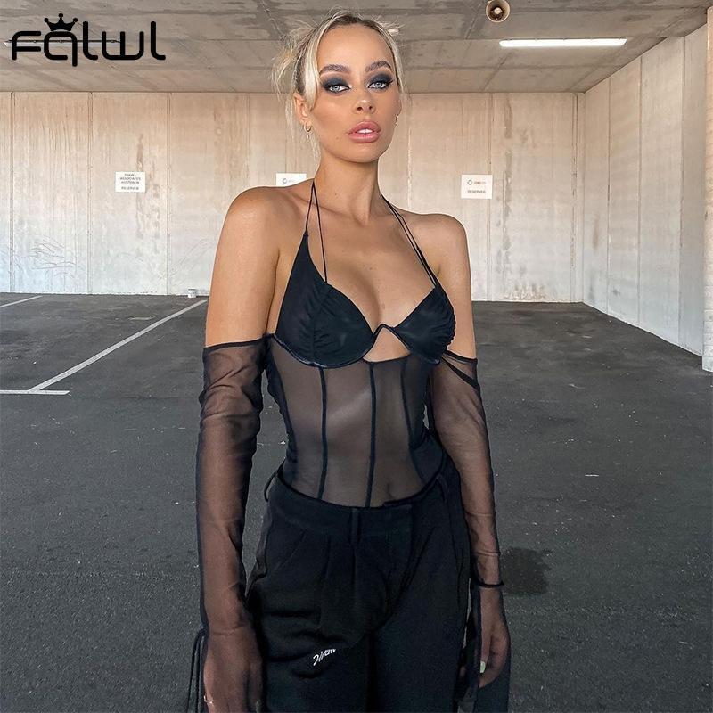 FQLWL Şeffaf Lace Up Mesh T Gömlek Kadınlar Bralette Kırpma Üst Siyah Dantelli Cami Halter Üst Kapalı Omuz Flare Sleeve Tişörtleri