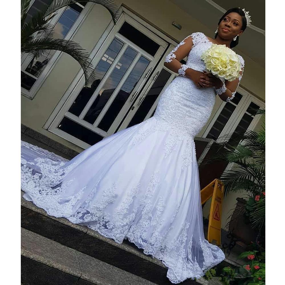 2021 Новые Иллюзии Рукава Африканские Платья Русалка Аппликация Труба Свадебное Свадебное Платье для поезда FP2G
