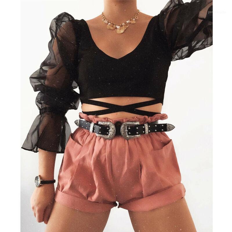 Chegada nova 2021 Camisa O-pescoço das Mulheres Tule Ruffle Long Puff Camisa Senhora Sólida Camisas Monitas Autumn Women Tops1