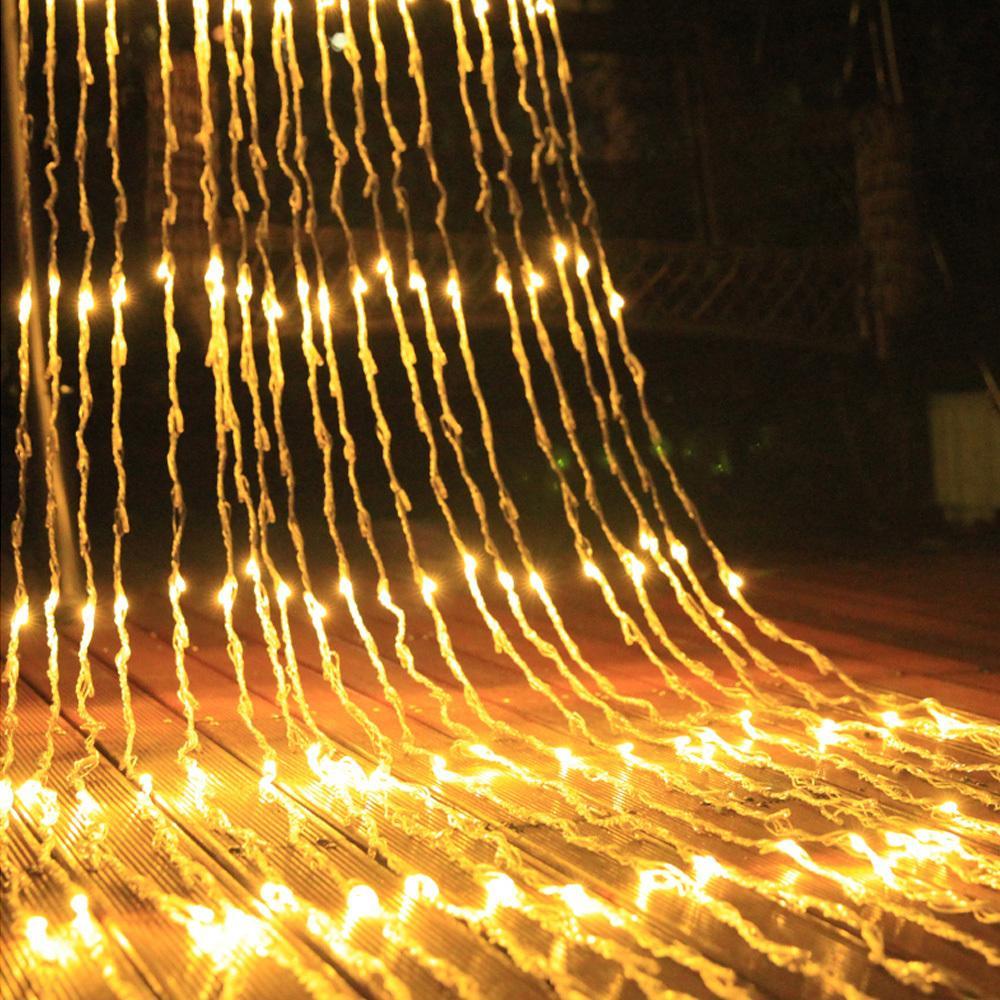Cachoeira impermeável Meteor chuveiro chuva corda de chuva luz 3mx3m 320 LED Curtain Curtain de Casamento de Cachoeira icicle Fairy String Garland Lamp 201030