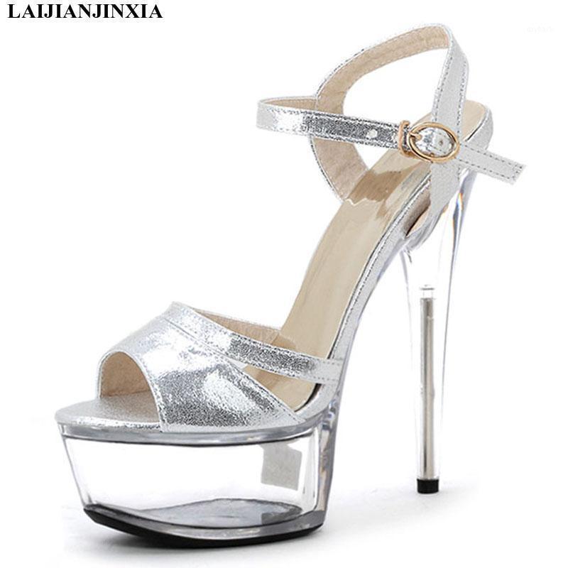 Laijianjinxia Nouveau Sexy Night Club Party Sandals Clear Heels 15cm Chaussures Ladys Soins personnalisés Chaussures de femme pour Robe Sandales Sandales Hauts High Heels1