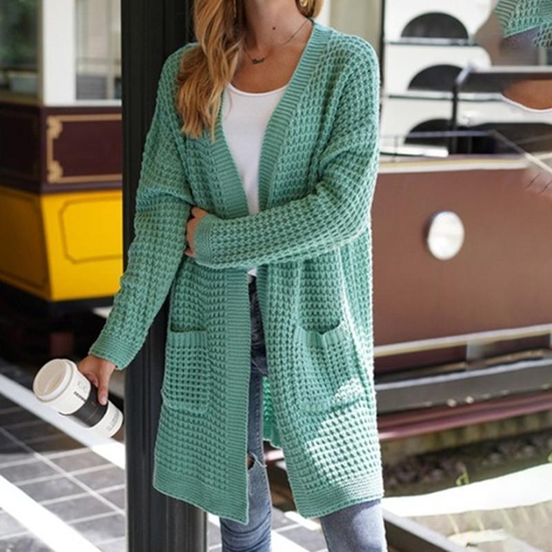 Autumn Women Cardigan Sweater Knitted Solid Color Pocket Knee Length Coat Winter Warm Female Sweater Fashion Streetwear