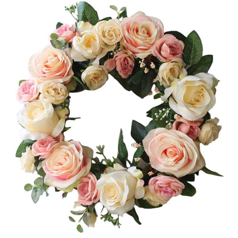 Искусственный цветок венок симуляция розовые цветы венок для дома передняя дверь свадьба окна стены украшения