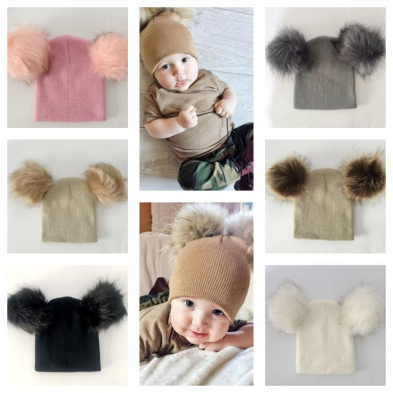 Lovely Winter Warm Kids Baby Crochet Hats With Double Pom Pom Fashion Newborn Children Casual Fashion Knitted Caps Beanie Skull Hats E110501