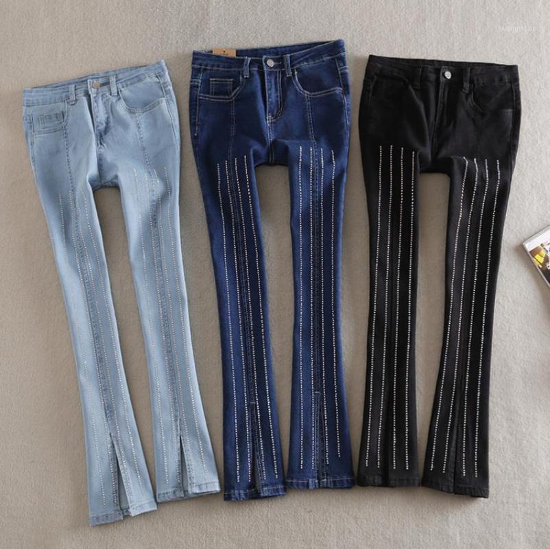 Wholesale mode de mode rétro large jambe diamant perles de perles de pierre féminine de style street style diamant creux découpé jeans wQ2203 dropship1