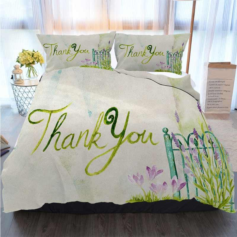Bettwäsche 3 Stück Bettbezug Sets danken Ihnen Gruß Lila Grün Lavendel Aquarell Quilt Bettwäsche Tröster Bettwäsche-Sets