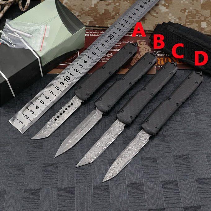 Новый Micro UT88 UT85 Damascus Автоматический нож Углеродное волокна Алюминиевая ручка Открытый оборонительный карманный нож скамья BM940 сделал A16 C07 Авто нож