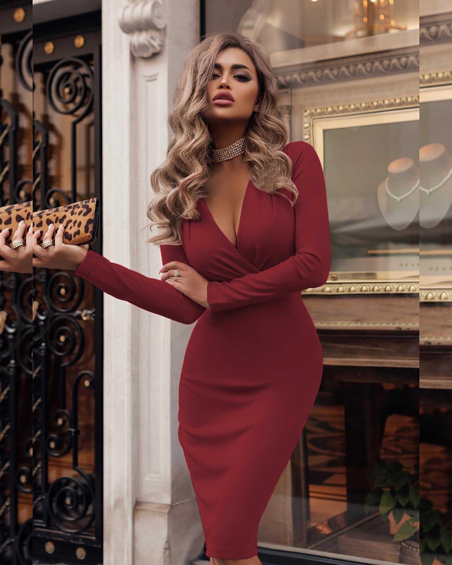 Günlük Kadınlar Katı Renk Elbise Moda İlkbahar Sonbahar BODYCON Elbise Yeni Geliş Bayanlar Uzun Kollu Kısa Kadınlar Elbiseler Boyut S-2XL