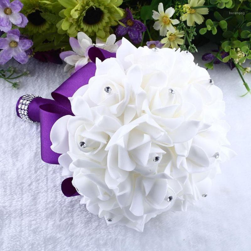 Sposa Bouquet da sposa in cristallo rose damigella d'onore bouquet da sposa nuziale fiori seta artificiale fiori di seta strass perla decorazione YL51