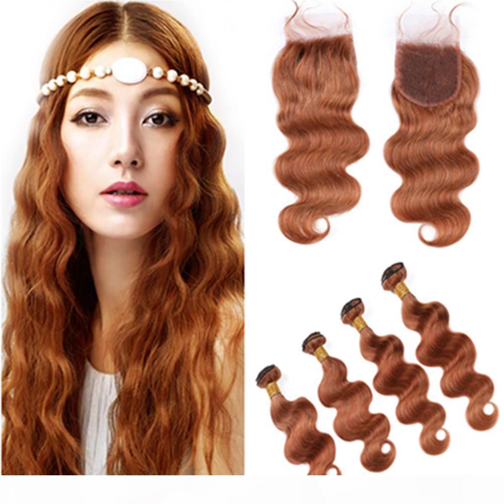 # 30 Medio Auburn Human Hair Pein 4 Paquetes y cierre Brasileño Body Wave Auburn teje extensiones de cabello virgen con cierre de encaje 4x4