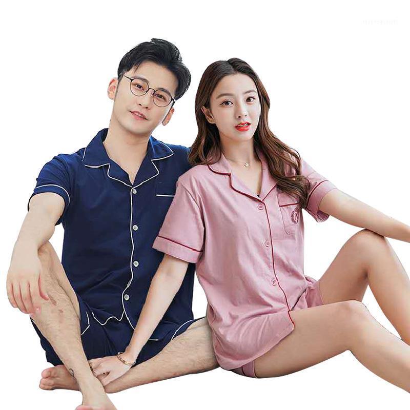 Мужская пижама набор 100% хлопок с коротким рукавом спящие одежды женские пижамы домашняя одежда мягкая удобная пижама для пар 2 швейные / набор1