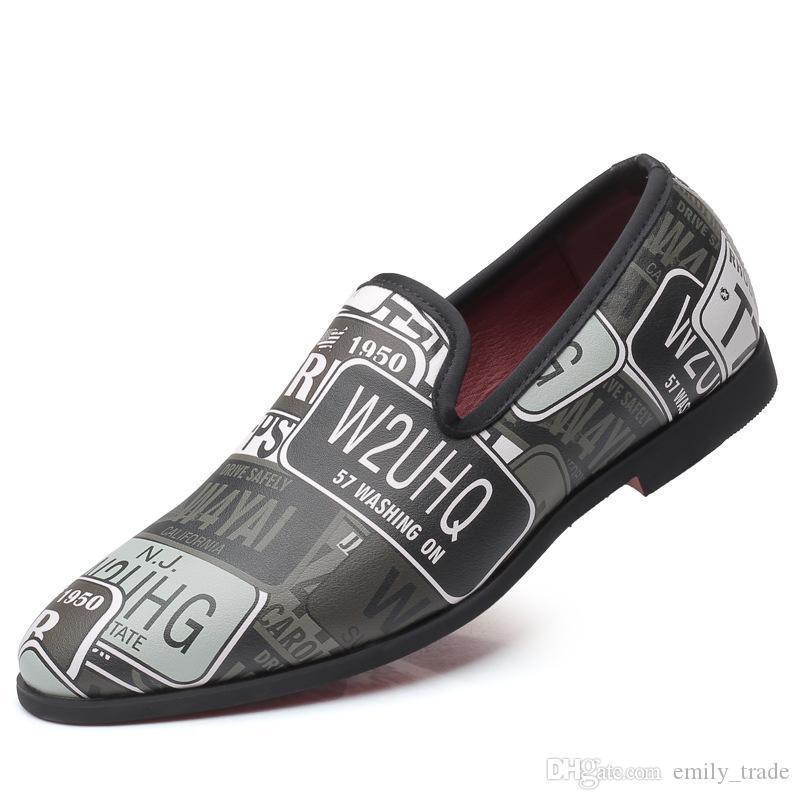 Italienische Hochzeit Kleid-Schuhe Drucken Wohnung Schuhe Slip-on-Loafers Male Leder Oxford Schuhe für Männer Zapatillas