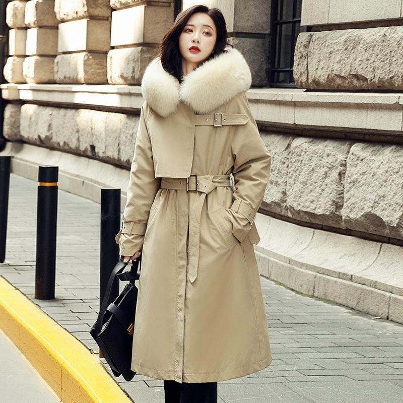 Janveeny Natural Fox меховой воротник с капюшоном женская с капюшоном пуховик белый утка вниз пальто женское пальто парки пальто пальто Parkas Peachy Weachy Y201012