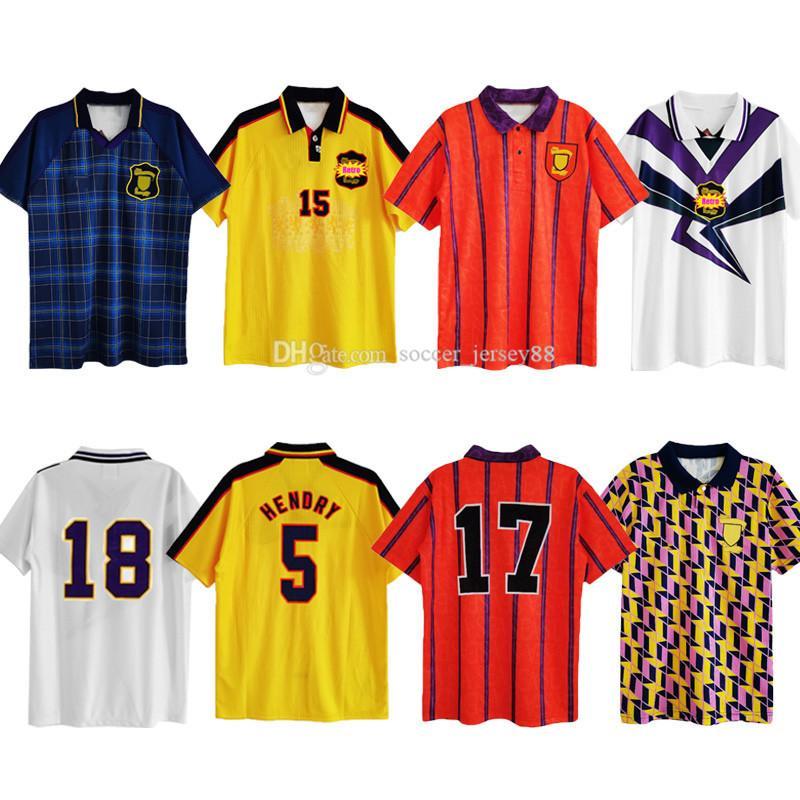 1990 1991 1993 1996 1994 1994 1995 Jerseys de football rétro Scotland Hendry Collins Galacher McKinlay 90 91 93 95 96 97 98 Chemises de football