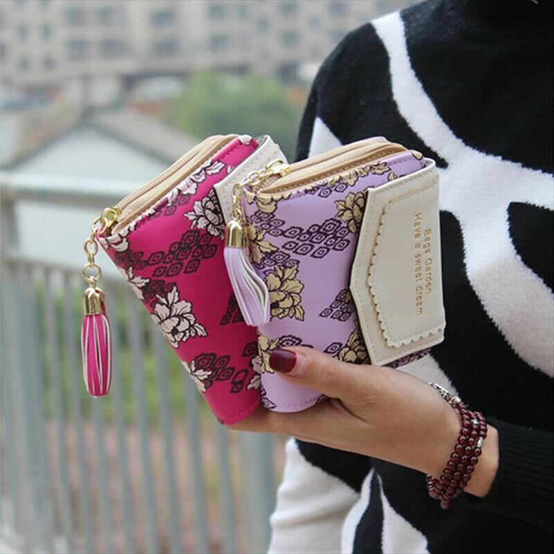 Para Cüzdanlar Kartları Tutucu Püsküller Fermuar Kalp torbaları Kadın Cüzdan Çanta Lady Kısa Cüzdan Kızlar notecase Cep Çiçek Cüzdan