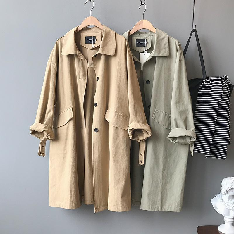 Autumn long loose-fitting skinny long-sleeved trench coat